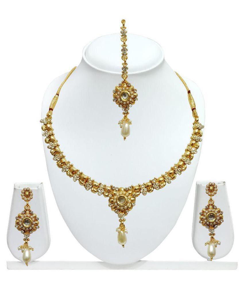 Arts Chetan Golden Alloy Necklace Set with Maang Tika