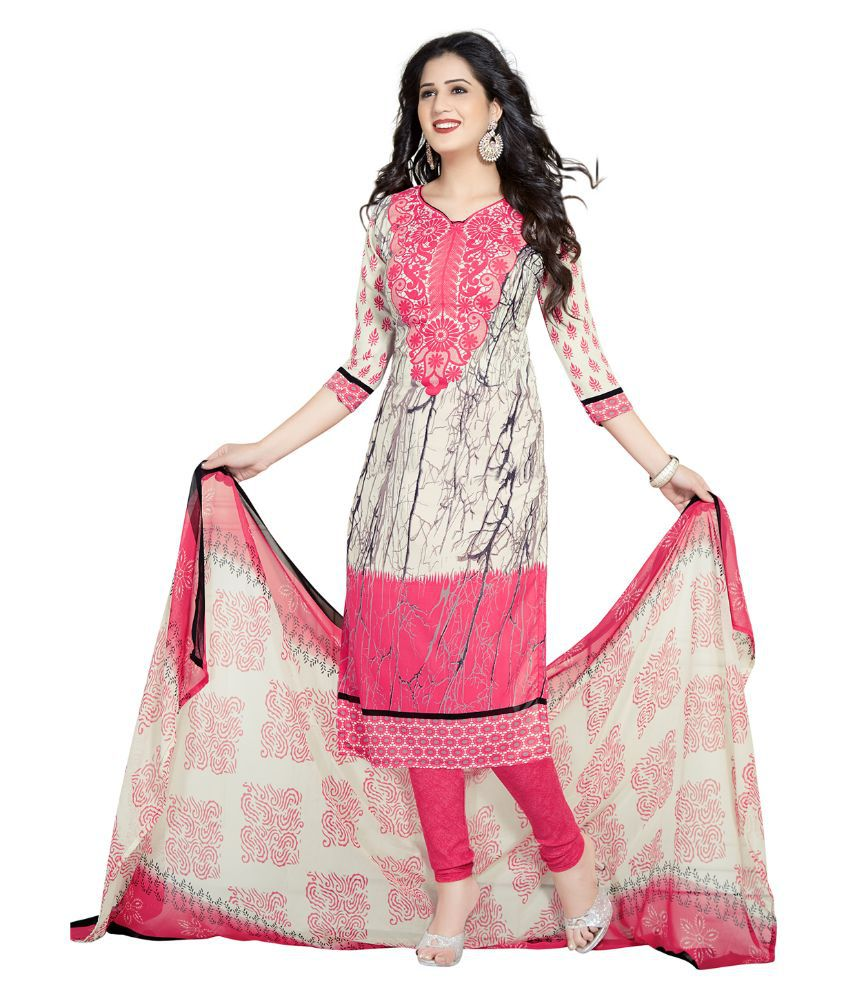 Drapes Multicoloured Crepe A-line Unstitched Dress Material