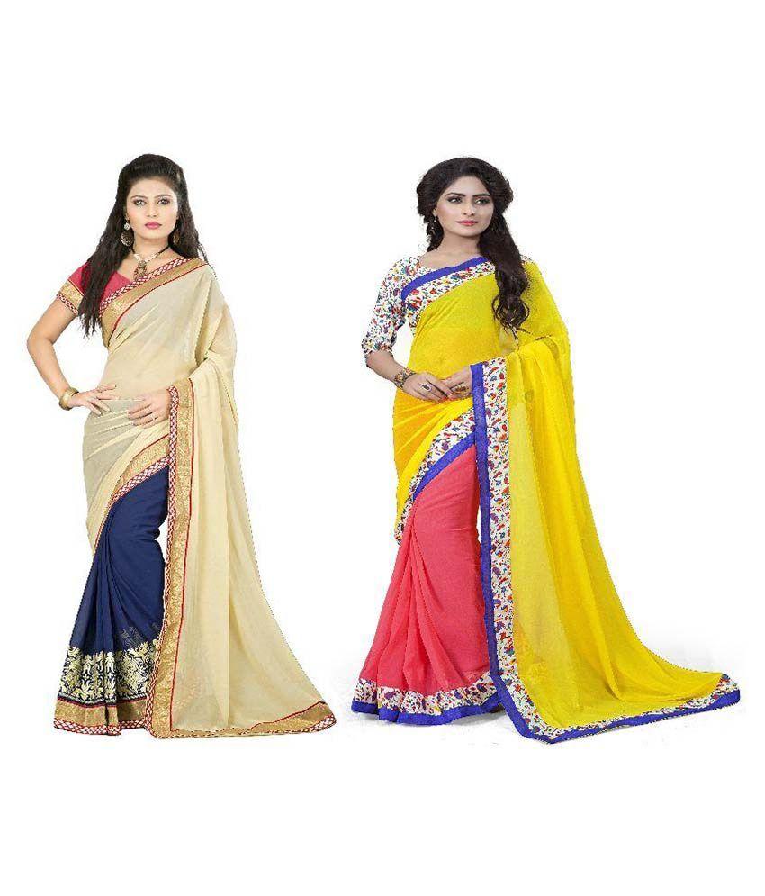 Aai Shree Khodiyar Art Multicoloured Georgette Saree Combos