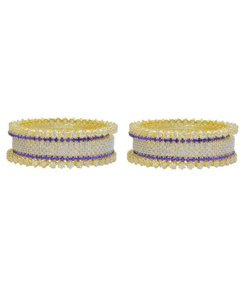 MUCH MORE Alloy   Studded Blue Coloured Pair Of Bangles