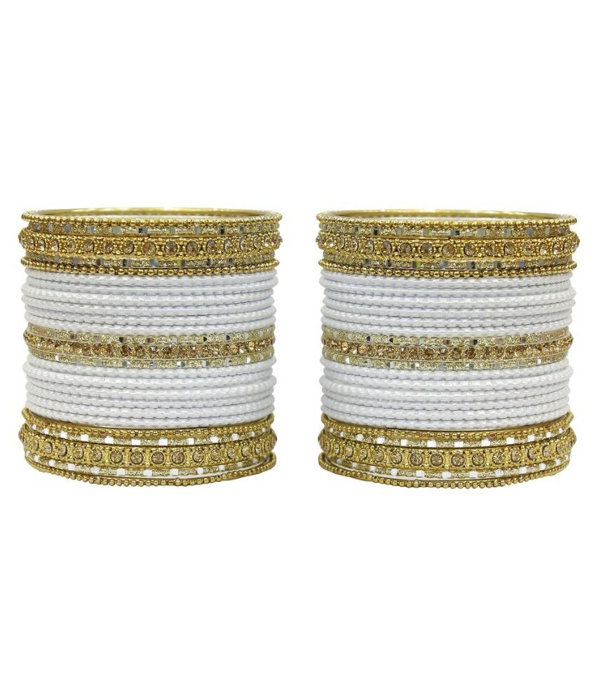Much More White Alloy Bangle Set