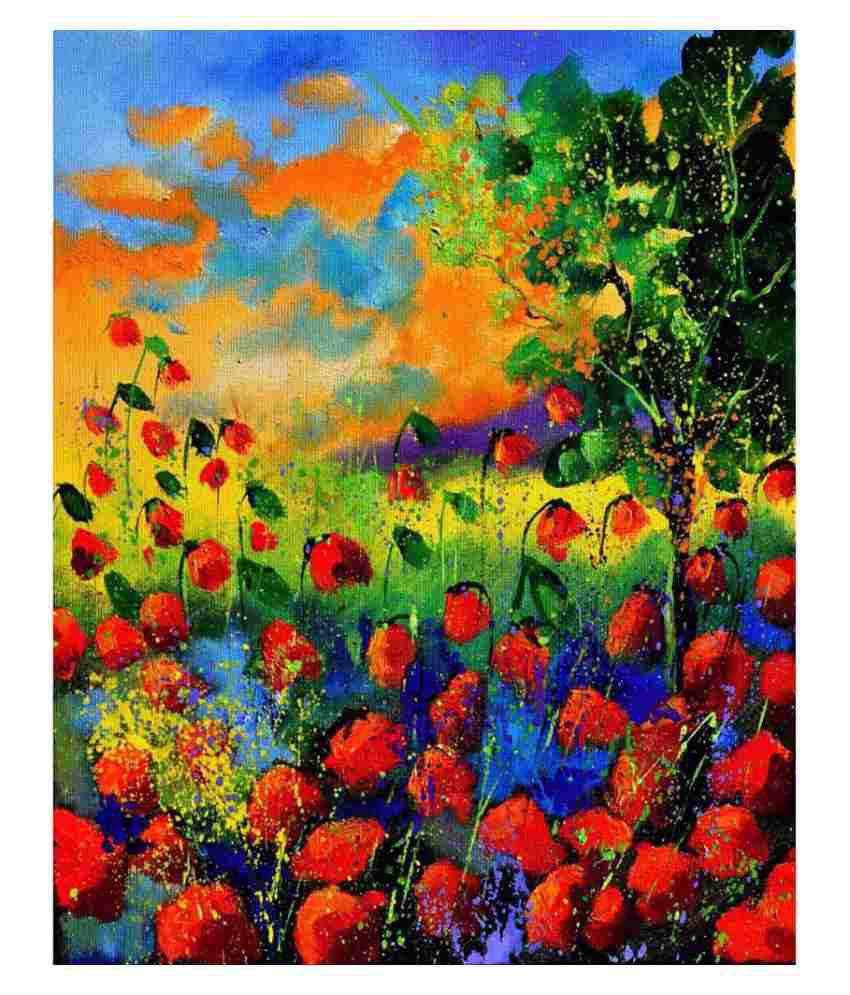 Tallenge Textured Beautiful Red Flower Garden Canvas Art Print