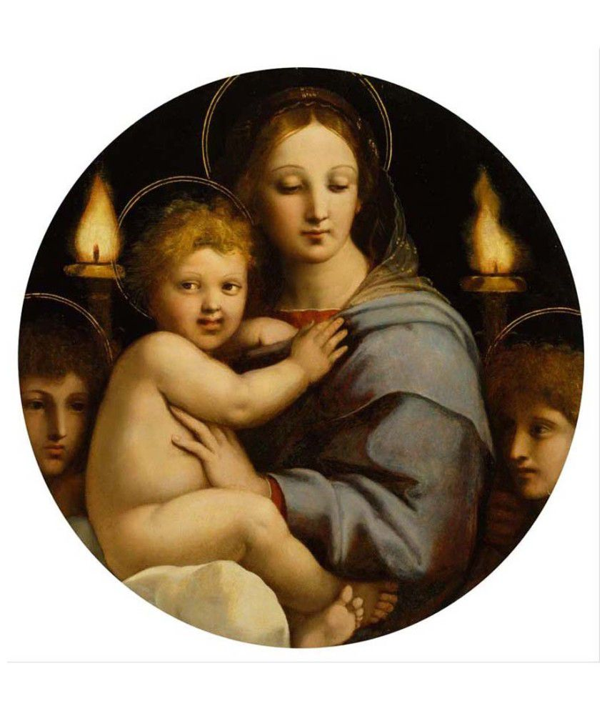 Tallenge Textured Madonna of the Candelabra by Raphael Canvas Art Print