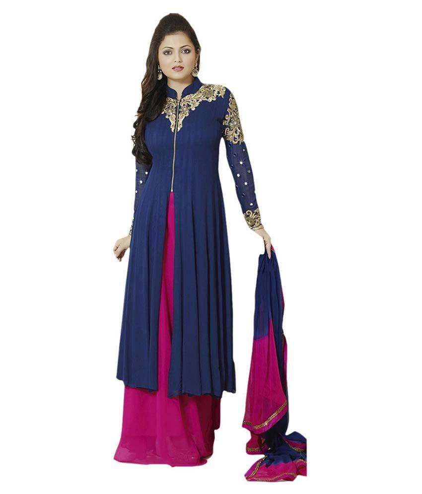 123f872405 Fashion World Navy Blue Georgette Pakistani Suits Semi Stitched Dress  Material - Buy Fashion World Navy Blue Georgette Pakistani Suits Semi  Stitched Dress ...