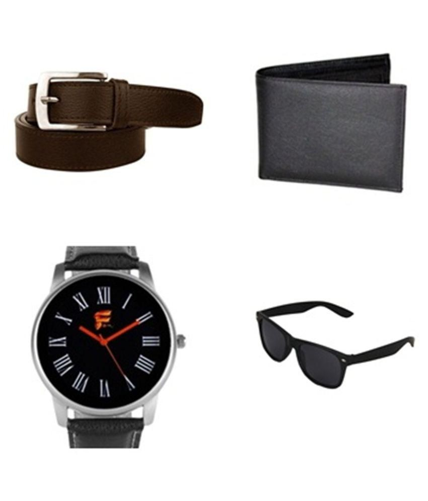 Daller Brown Formal Belt for Men with Watch, Wallet and Sunglasses