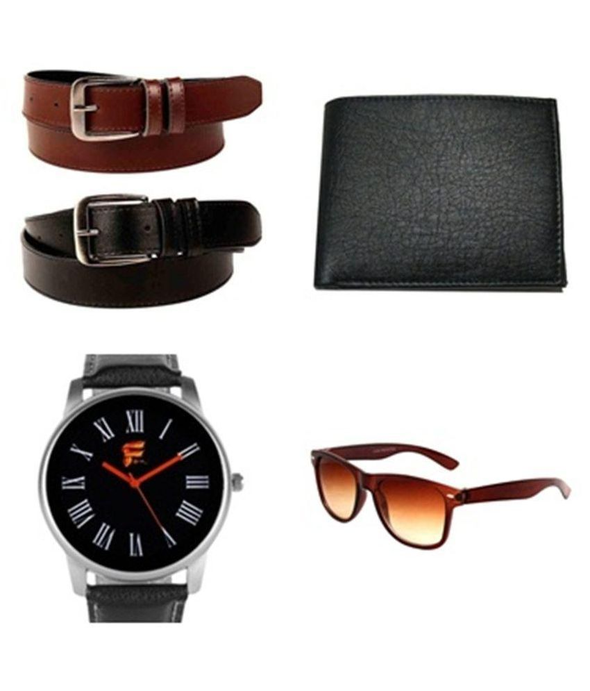 Daller Multicolour Formal Belt for Men - Set of 2 with Watch, Sunglasses and Wallet