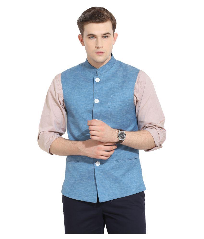 Envoy Blue Casual Waistcoats