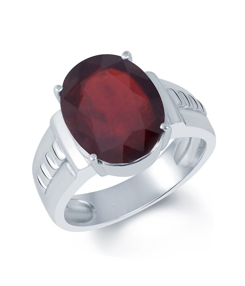 G-Luck 92.5 Silver Garnet Ring
