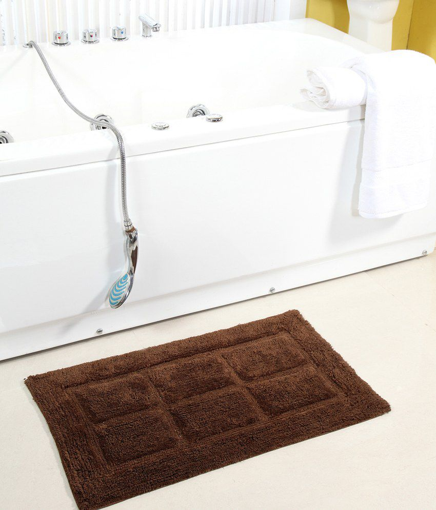HomeFurry Greyish Brown Windy Window Cotton Bath Mat