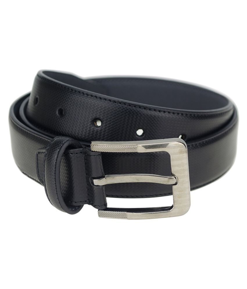 Kaos Black Leather Formal Belt for Men