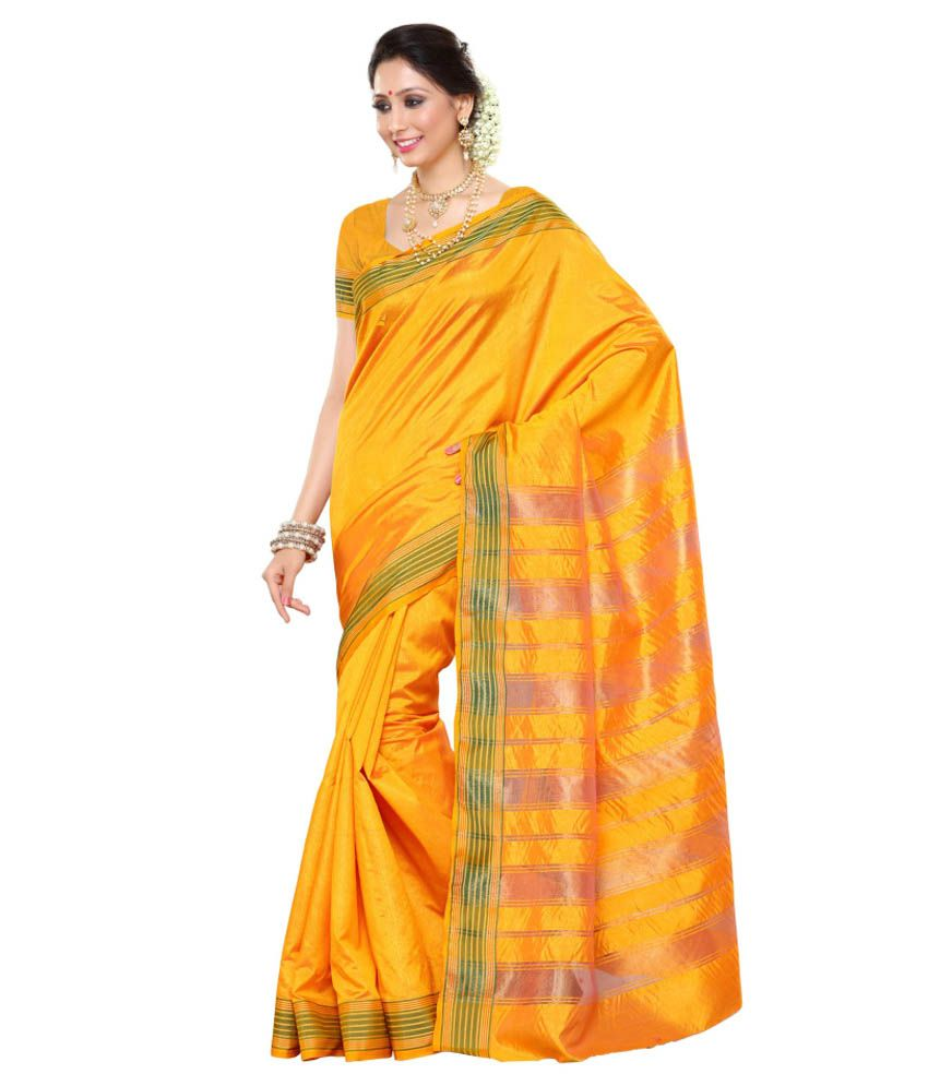 Mimosa Yellow Kanchipuram Saree