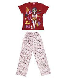 Dear Kids Multicolour Cotton Nightsuit for Girls