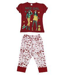 Dear Kids Multicolour Cotton Nightsuit Set for Girls