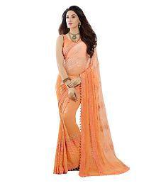 Kmozi Orange Chiffon Saree
