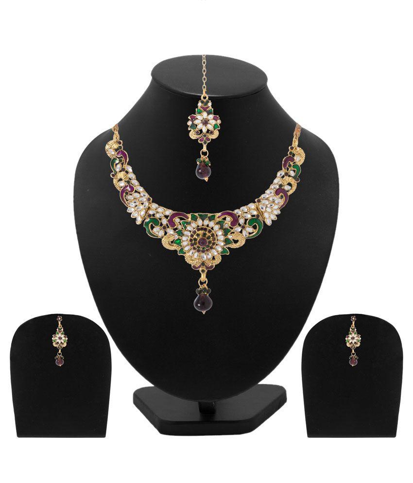 Voylla Multicolour Alloy Crystal Necklace Set Combo