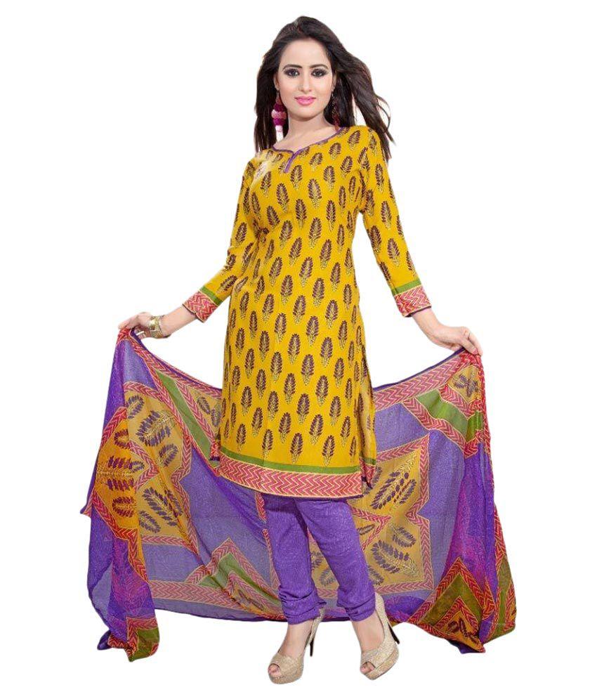 Muta Fashions Yellow Crepe Straight Fit Salwar Suit