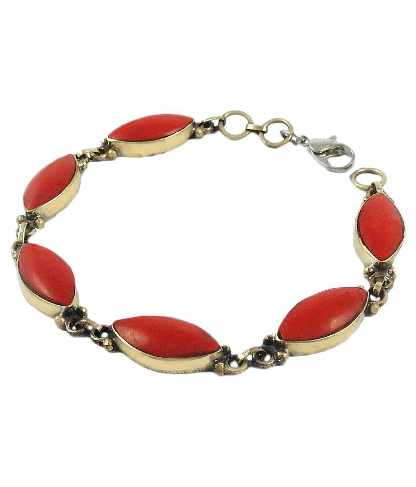 Miska Silver German Silver Stones Studded Red Coloured Bracelet