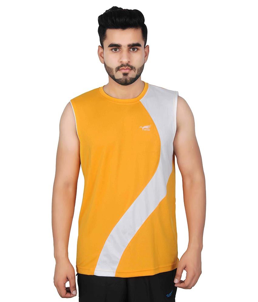NNN Yellow Polyester T Shirt