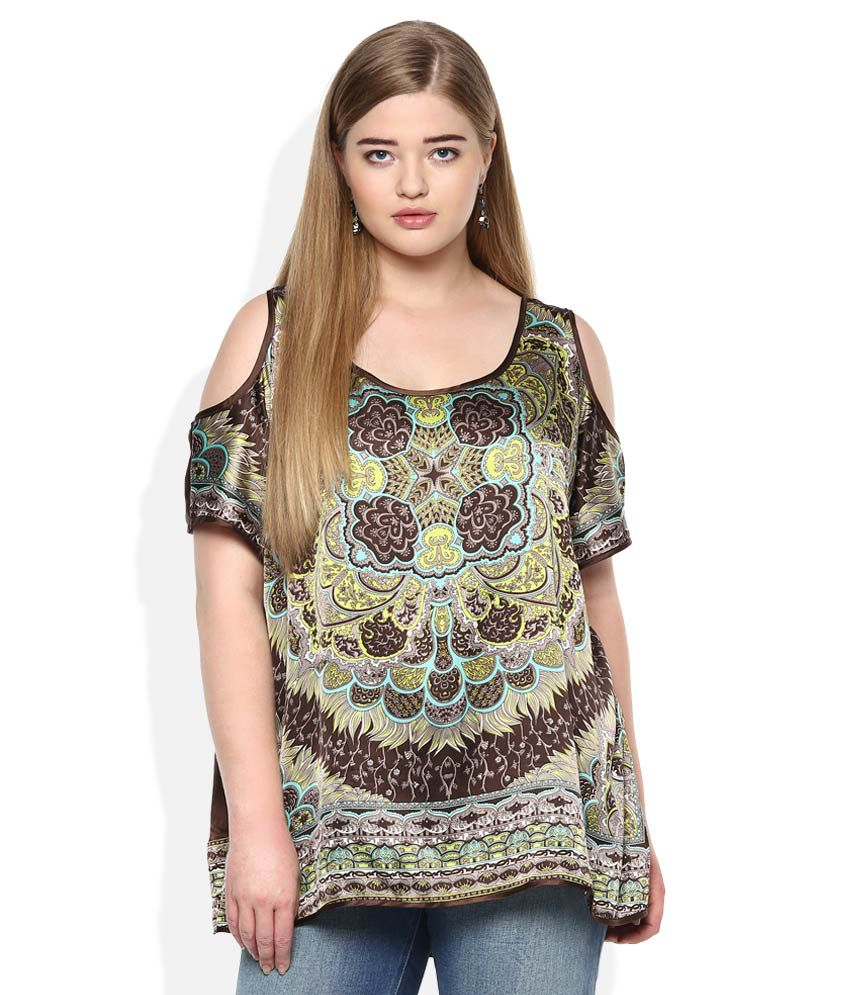 Qurvii Brown Printed Cold Shoulder Top