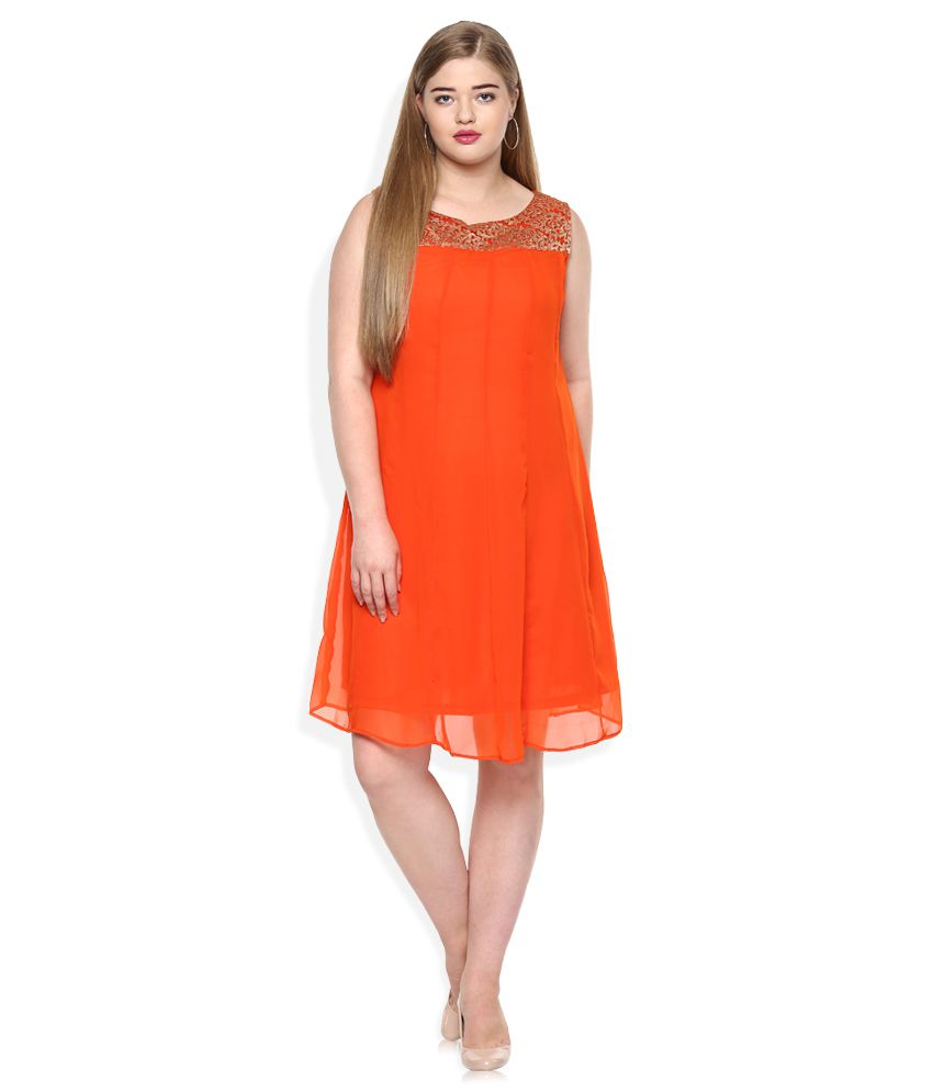 Qurvii Orange Paneled Dress With Brocade Yoke At Neck