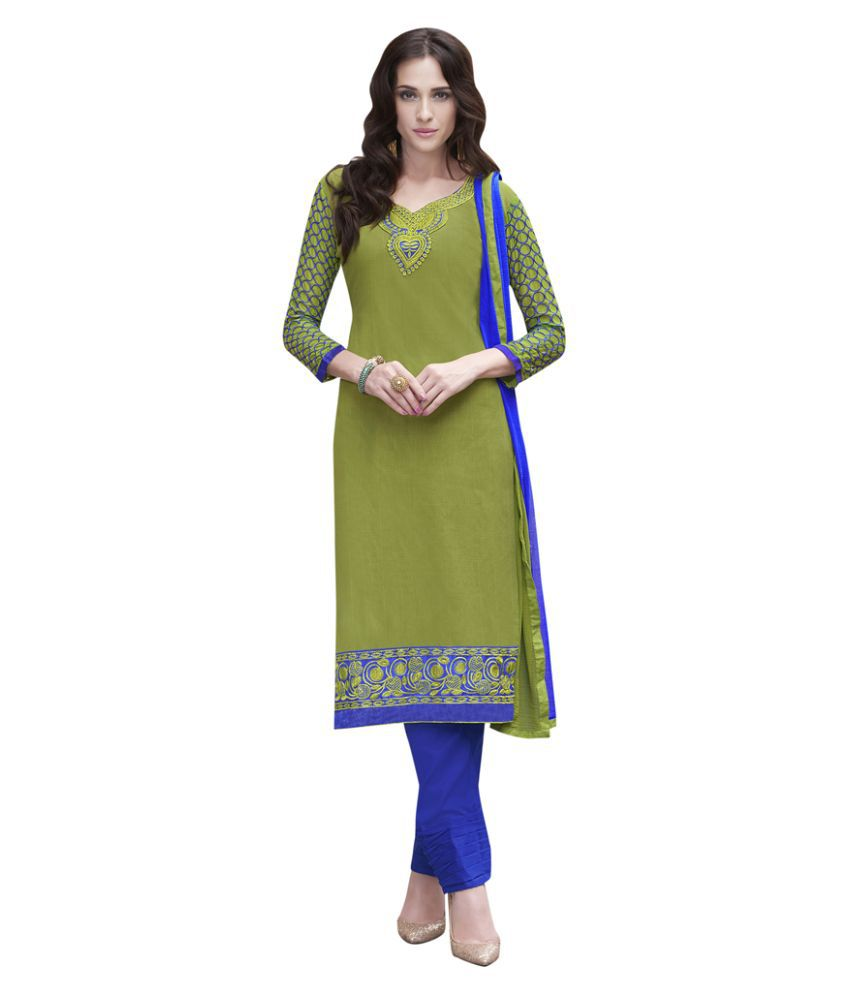 Swaron Green Cotton Straight Unstitched Dress Material