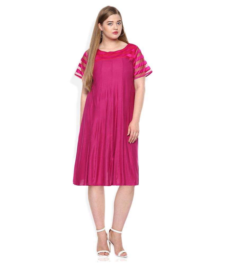 Qurvii Pink Paneled Dress With Net Yoke