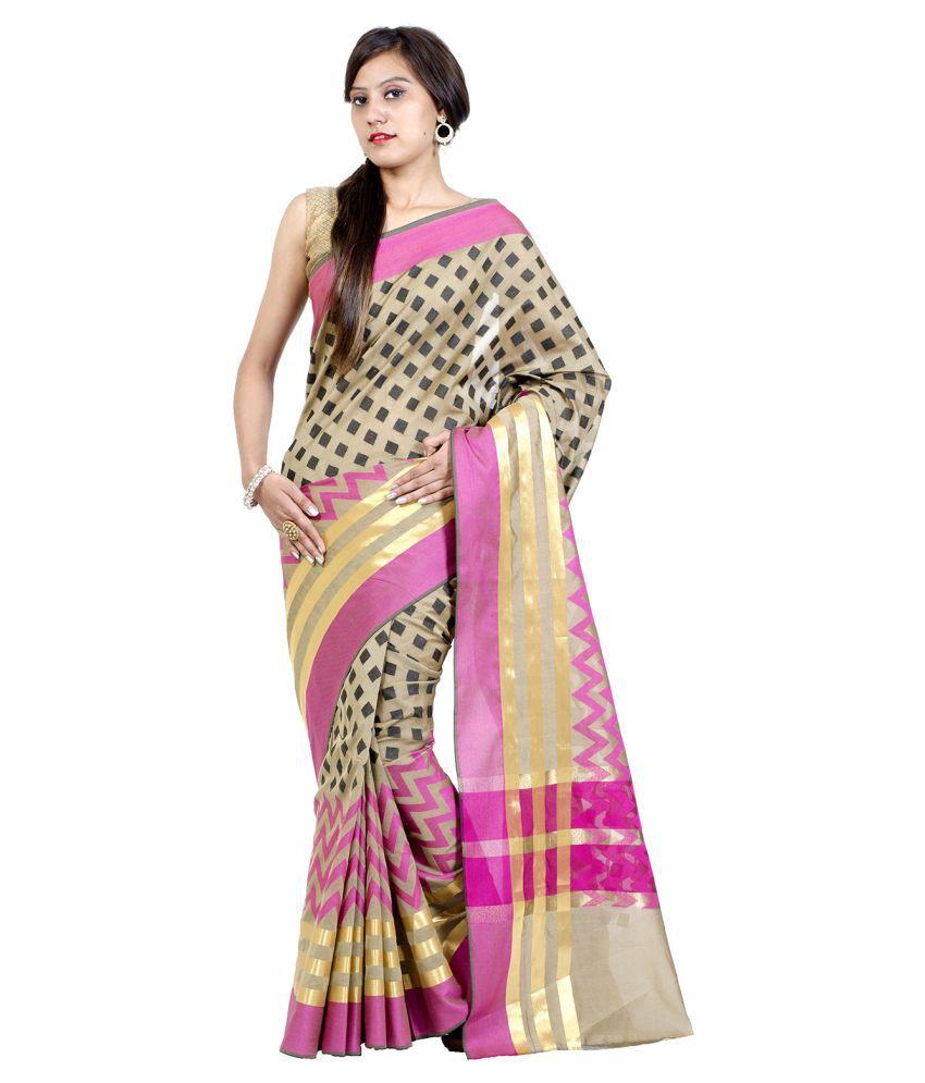 Chandrakala Beige Cotton Silk Saree