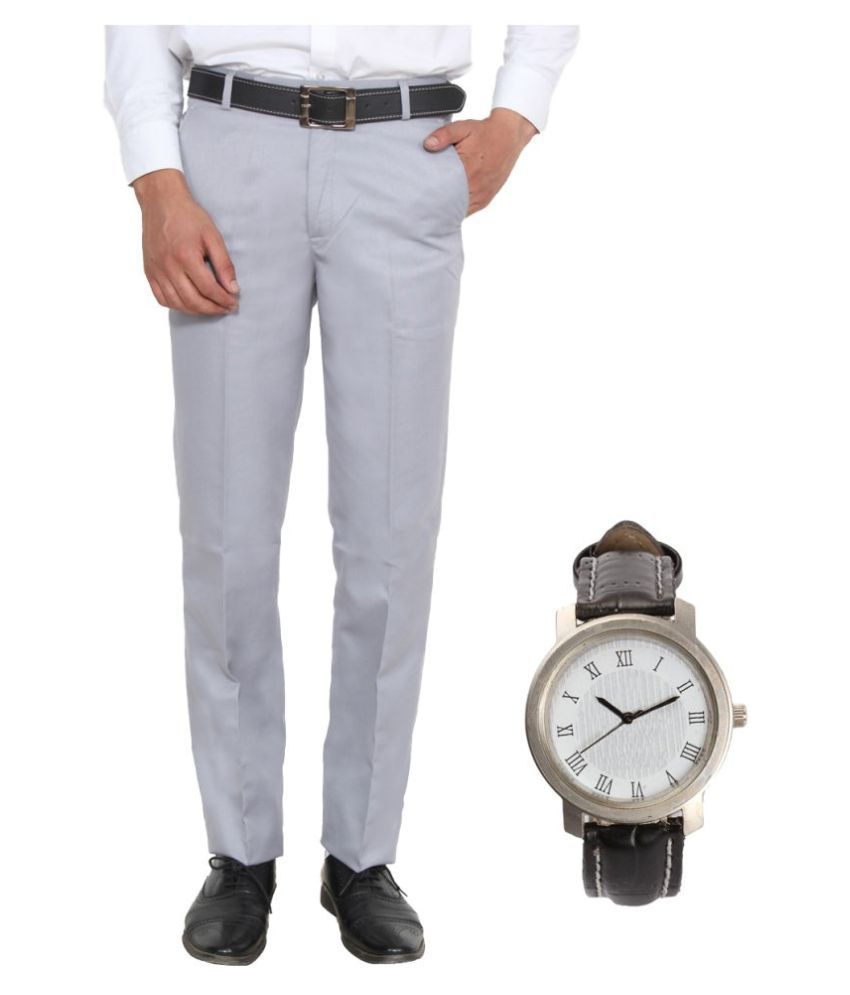 Ansh Fashion Wear Grey Regular Flat with Watch