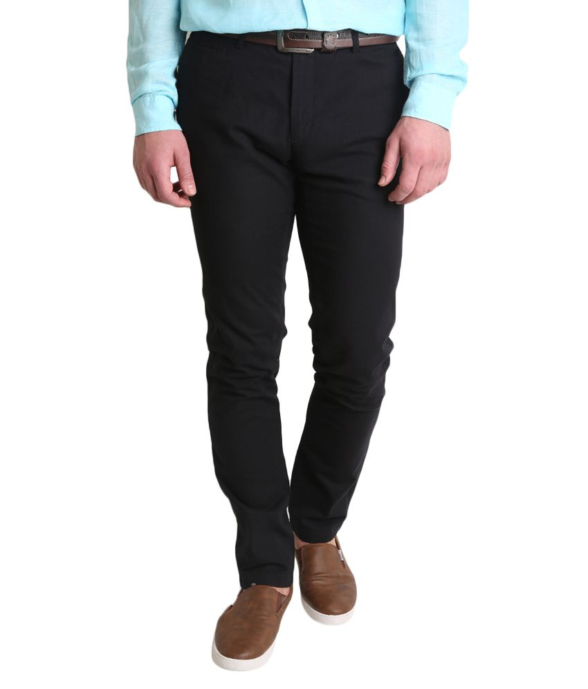 BLACKBERRYS Black Skinny Fit Formal Trousers