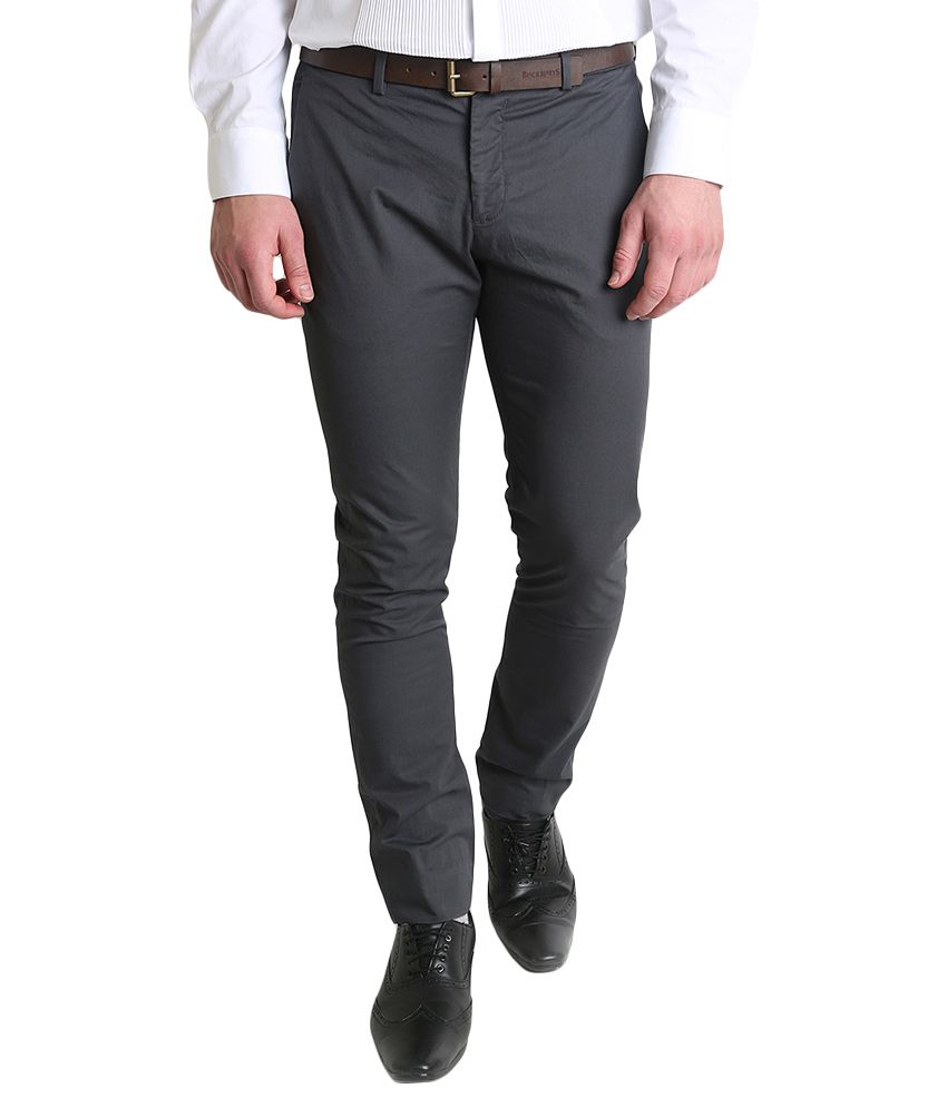 BLACKBERRYS Grey Skinny Fit Formal Trousers