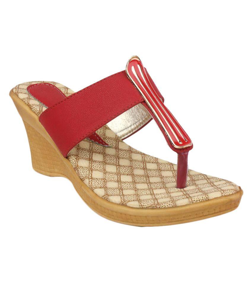Ortan Red Wedges Heels