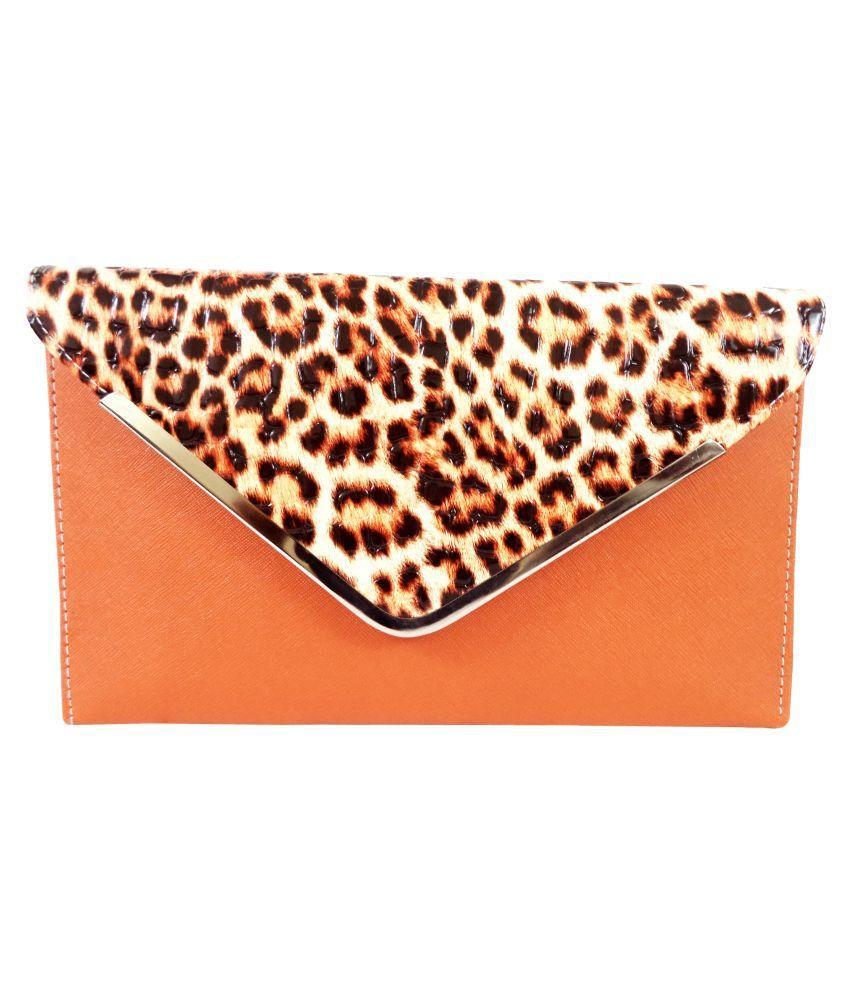 Catman Orange Faux Leather Clutch
