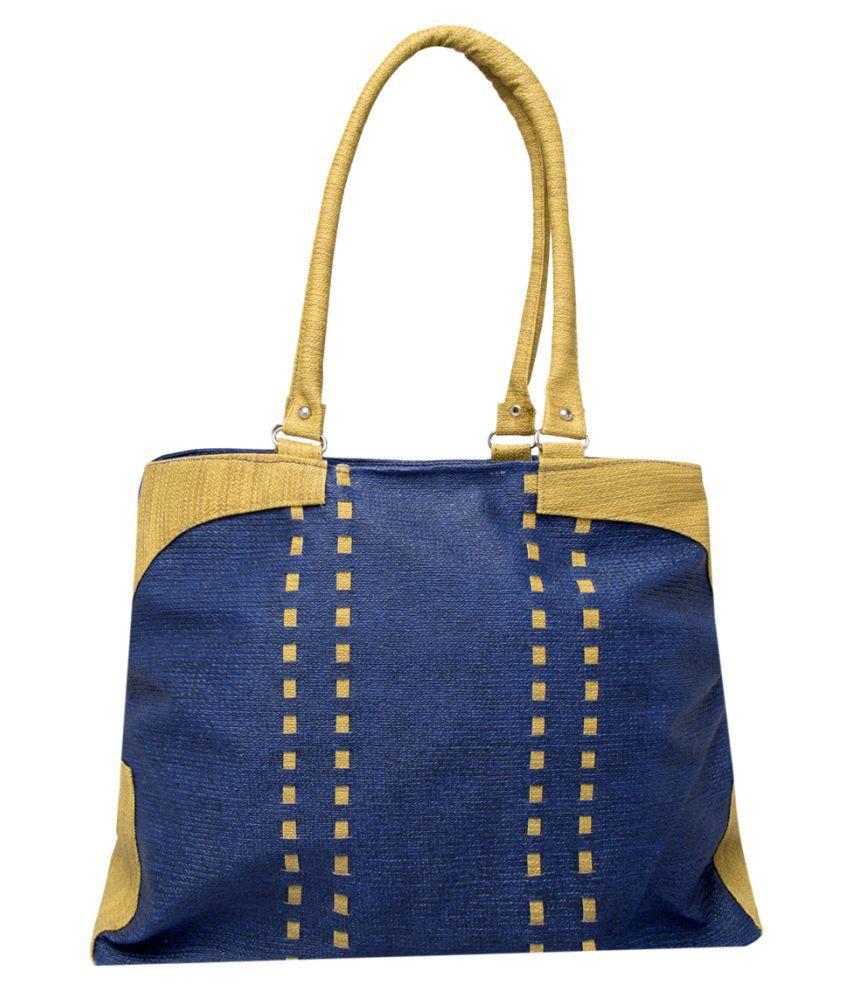 Emblazon Blue Faux Leather Shoulder Bag