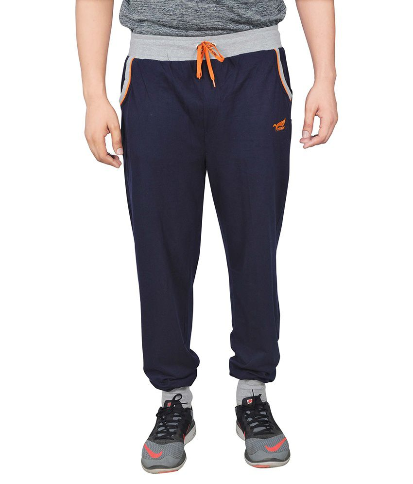 NNN Navy Blue Cotton Trackpant for Men