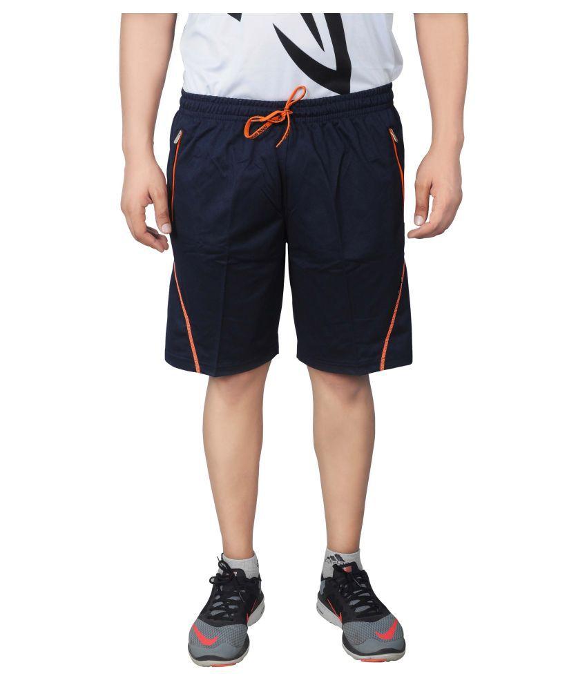 NNN Navy Blue Polyester Sports Shorts