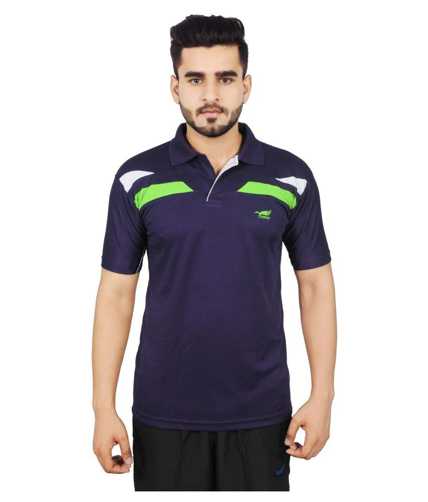 NNN Navy Blue Polyester T-Shirt