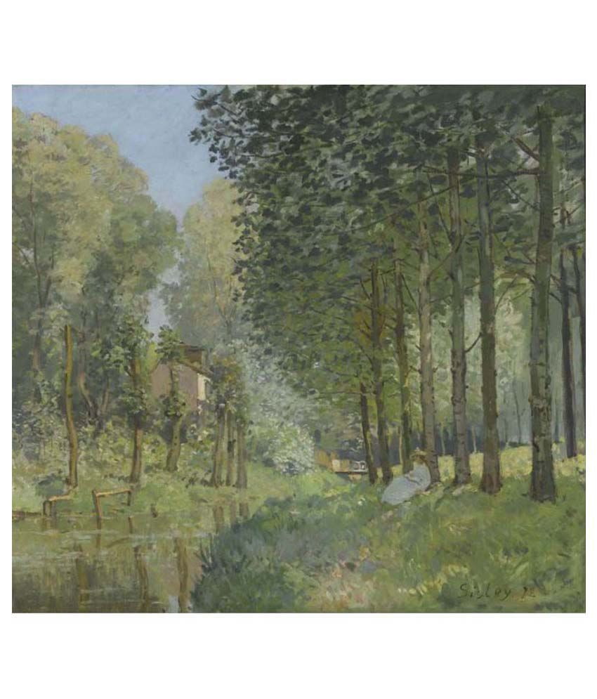 Tallenge Textured Rest along the Stream. Edge of the Wood by Alfred Sisley Canvas Art Print