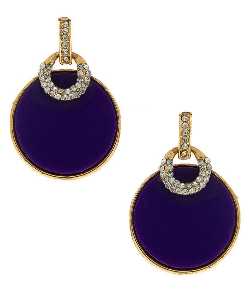 Anuradha Art Purple Drop Earrings