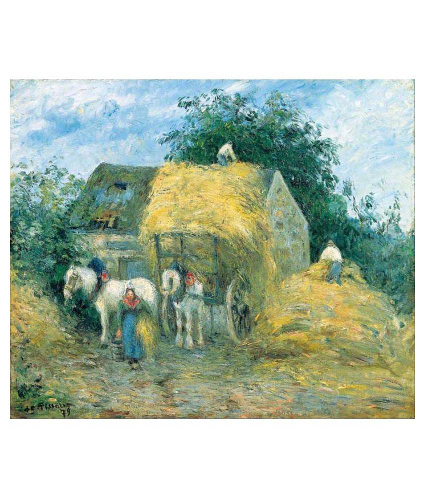 Tallenge  - The Hay Cart, Montfoucault by Camille Pissarro - Small Size Premium Quality Gallery Wrap Canvas Art Print