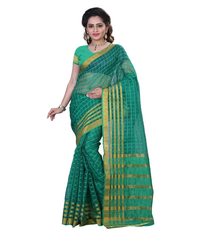 Harsh Fashions Green Cotton Silk Saree