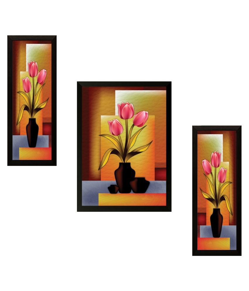 SAF ShyamArtnFrame Wood Art Prints With Frame 3 Combination