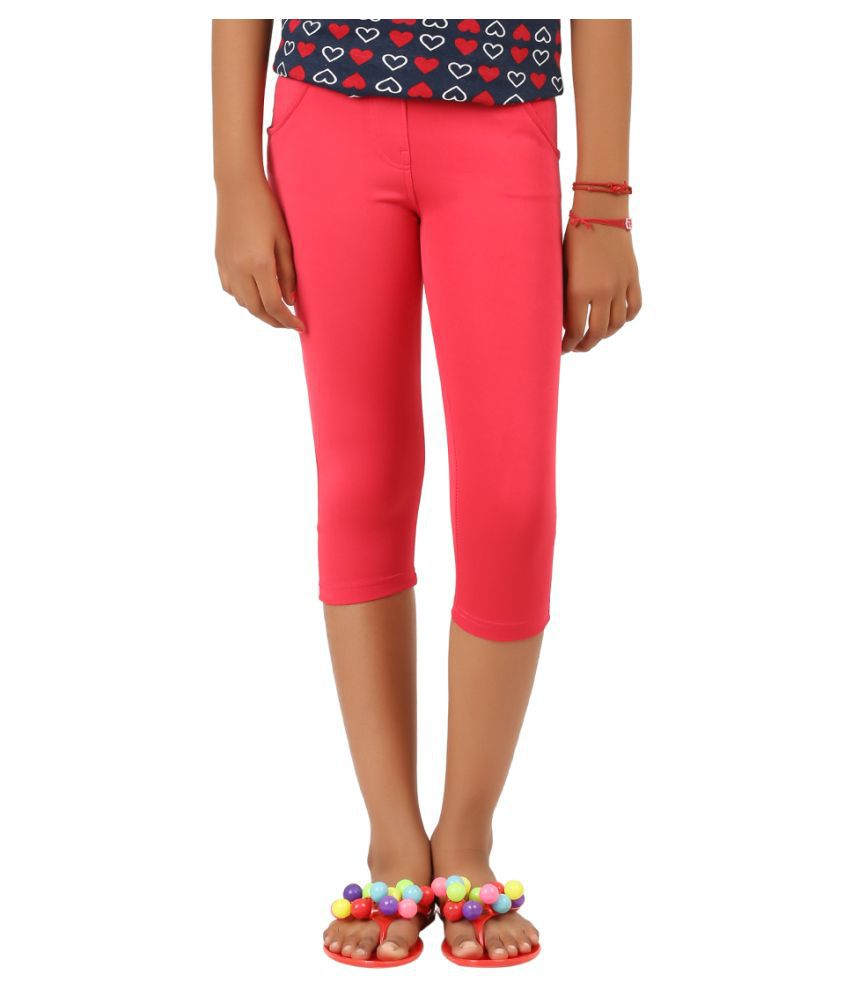 Lil Orchids Pink Polyester Capri