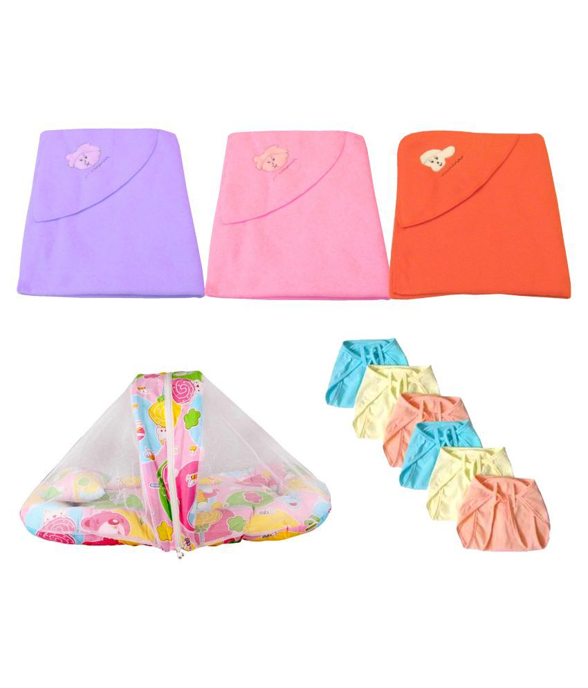 BigBear  Set of 3 Polar Fleece Baby Blanket with  1 Baby bed With Mosquito Net  and 6 hosiery nappies