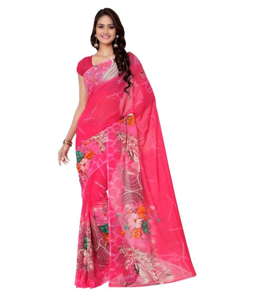 Exclusive Designer Pink Georgette Saree