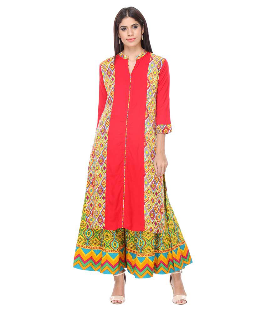 Varanga Orange Rayon Kurti with Palazzo