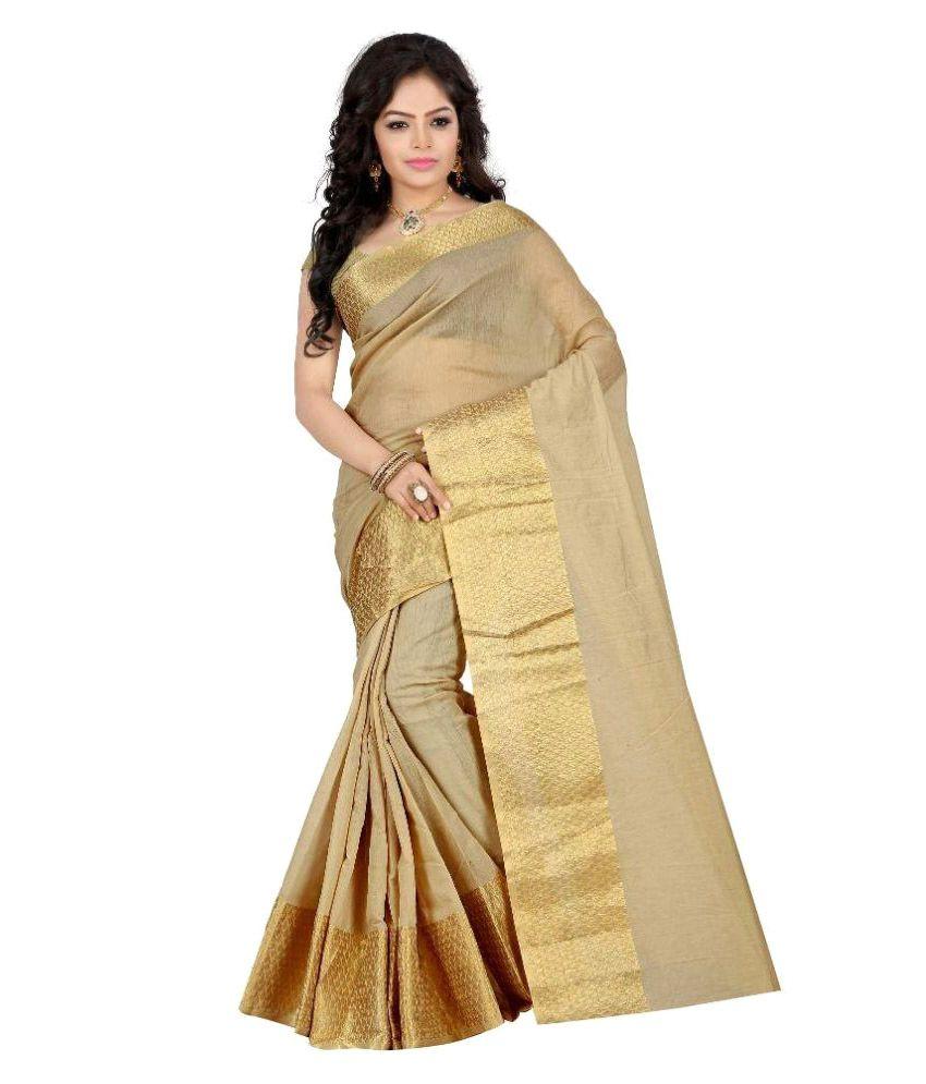 Stutti Fashion Beige Silk Saree