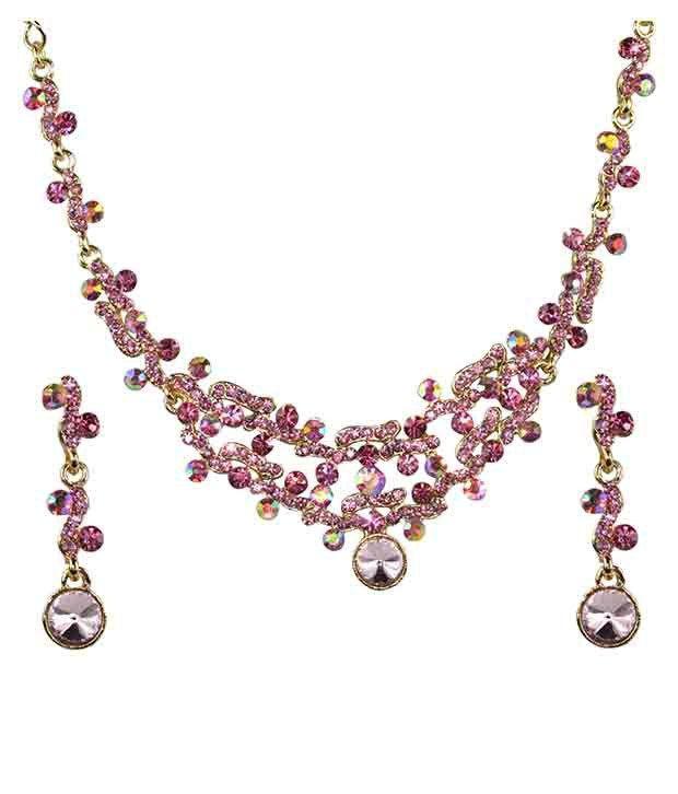 Glitters Pink Stone Fashion Dress Match Necklace Set