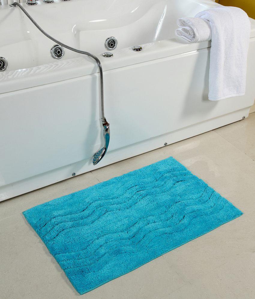 Homefurry Blue Cotton Floor Mat