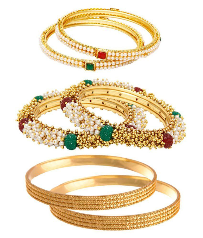 Jewels Galaxy Multicolour Alloy Bangle Combo - Set of 3