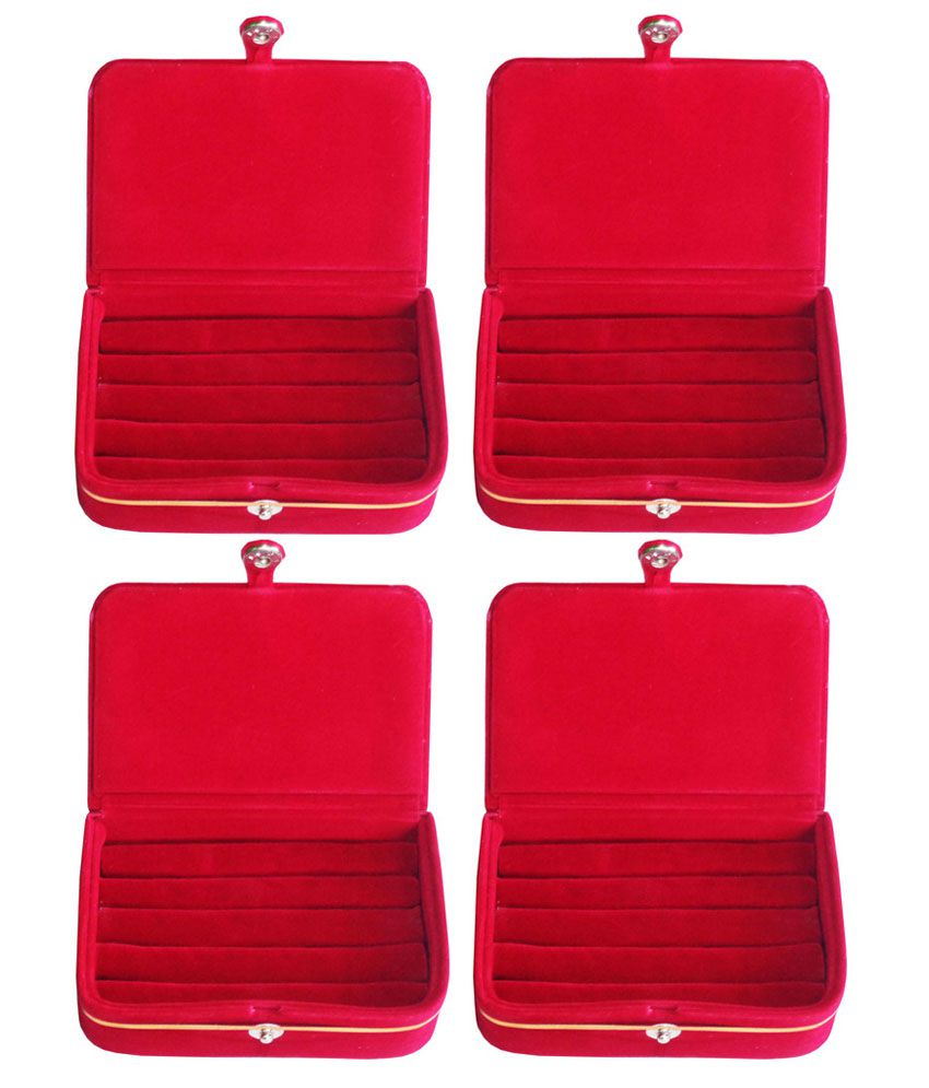 ABHINIDI Red Wooden Jewellery Box - Set of 4